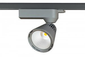 Lival Led Lean GA69 55W/830 20° Spot clean white in silber mit 3 Phasenadapter